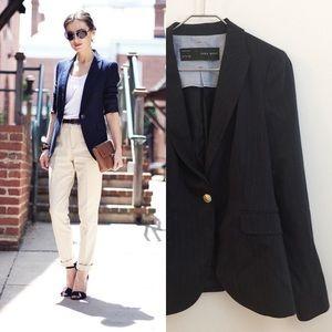 Zara basic navy striped blazer